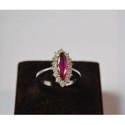 Inel din aur alb, rubin si diamante