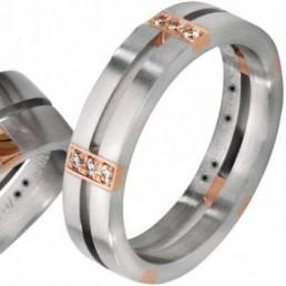 Verighete aur alb aur roz si diamante v45