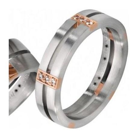 Verighete Aur Alb Aur Roz Si Diamante V45 Roxandy