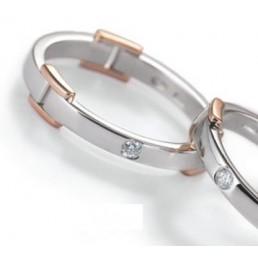 Verighete aur alb aur roz si diamante taietura briliant v53