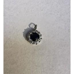 Pandantiv din aur 14k, diamante și safir natural