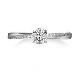 Inel de logodna, aur alb si diamante