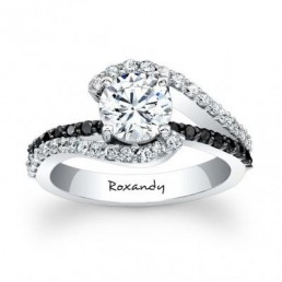Inel de logodna cu diamante albe si diamante negre