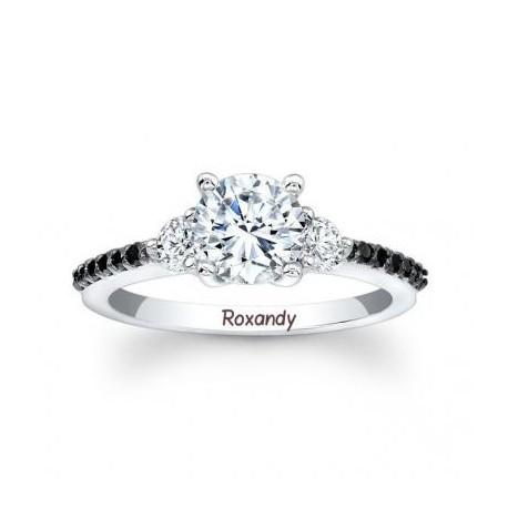 Inel de logodna din aur alb cu diamante