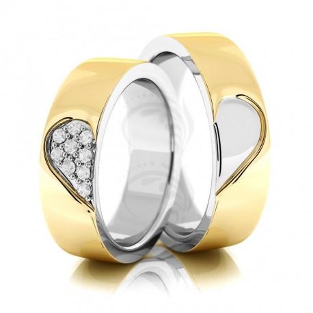 Verighete din aur alb si galben cu diamante