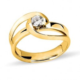 Inel de logodna, aur galben si diamant